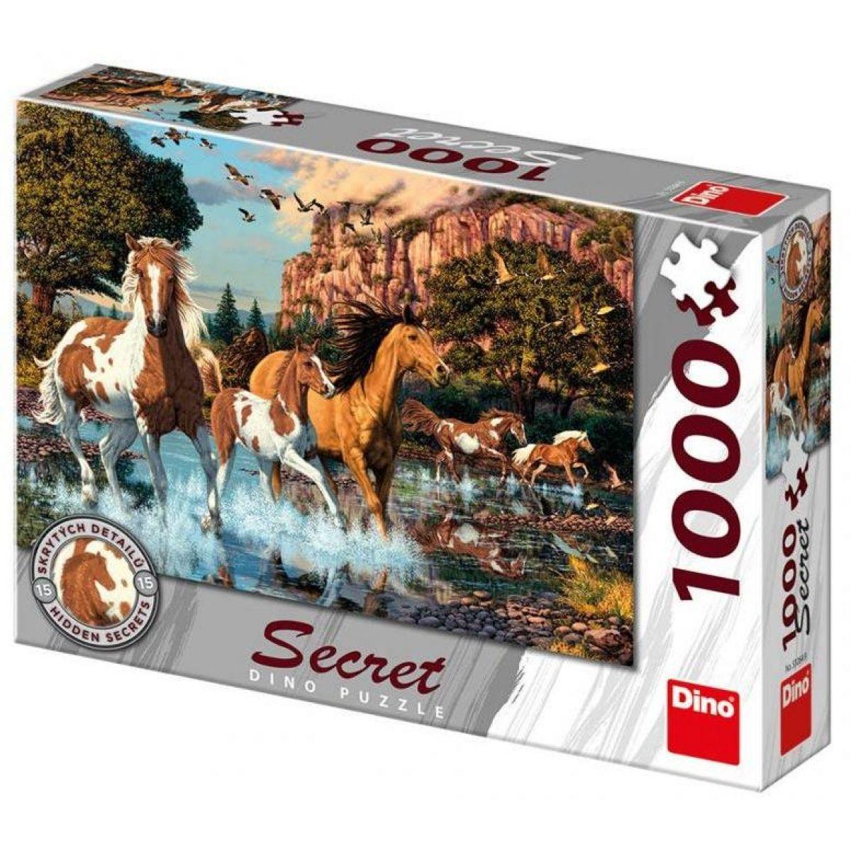 Dino Puzzle Kone v rieke 1000 dílků