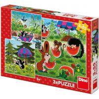 Dino Krtko a dáždnik puzzle 3 x 55 dielikov