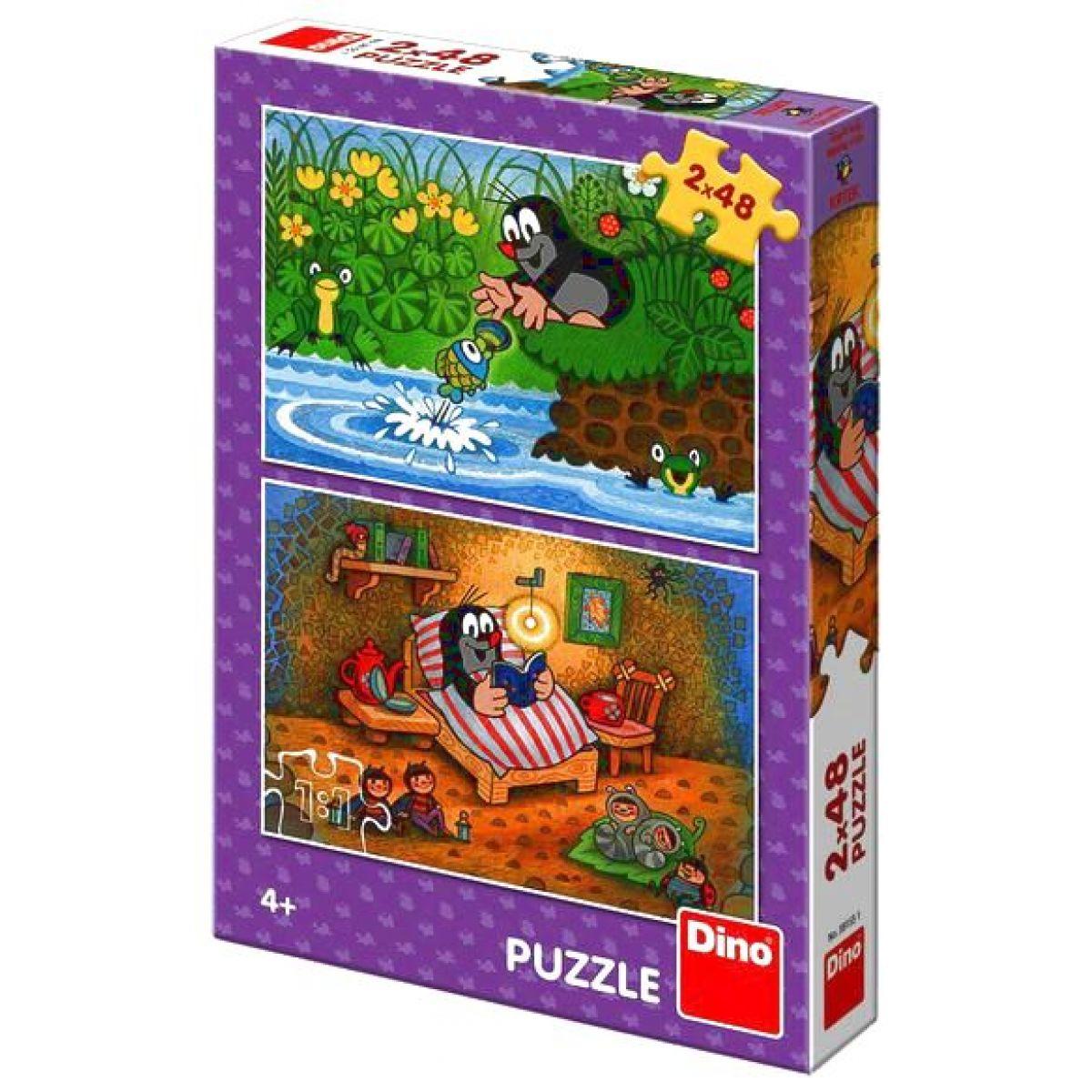 Dino Krtko a perla Puzzle doskové 2 x 48 dílků