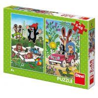 Dino Krtko sa raduje puzzle 2 x 48 dielikov