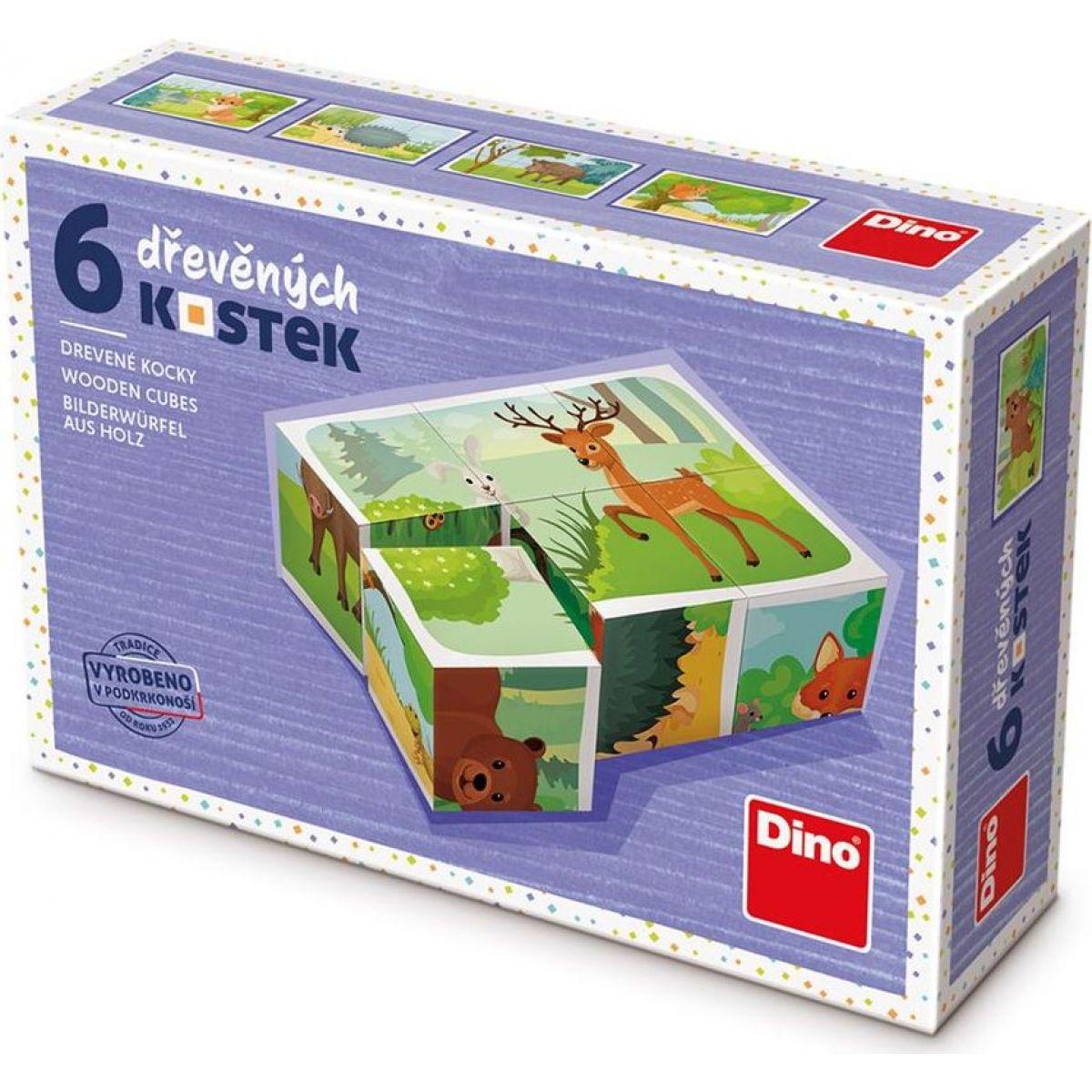 Dino Lesné zvieratká 6 drevené kocky