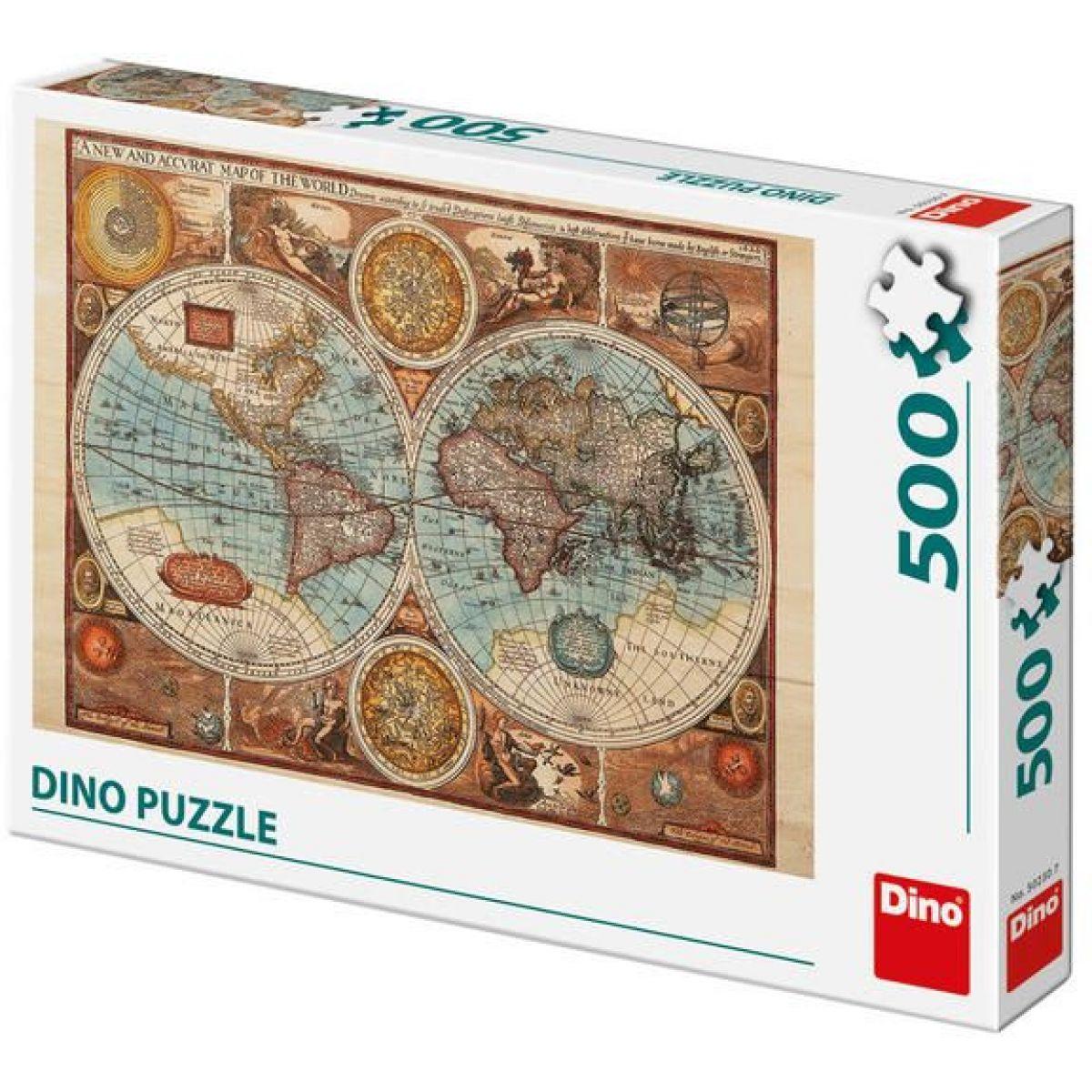 Dino Mapa Sveta z roku 1626 puzzle 500 dielikov