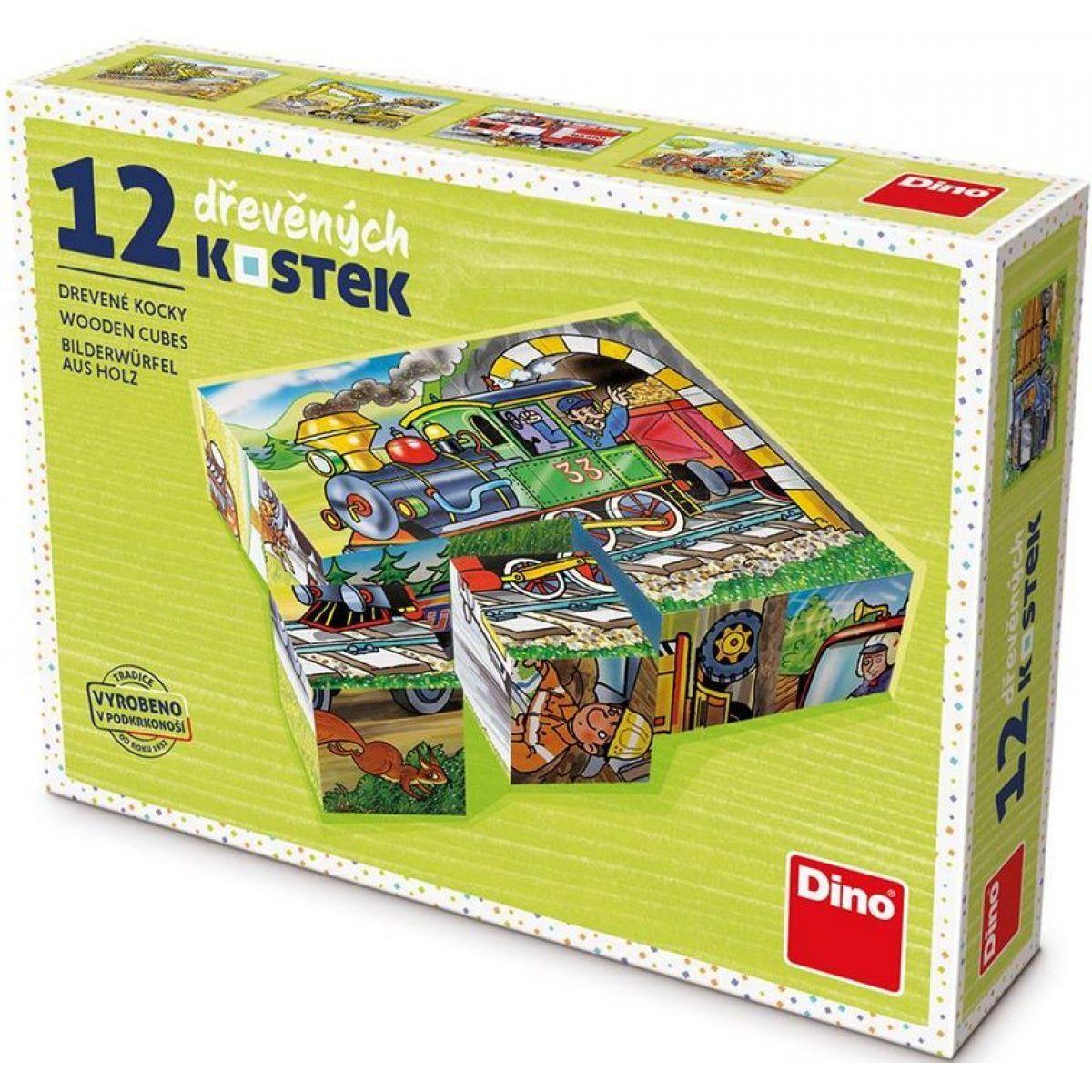 Dino Mašinka drevené kocky 12 ks