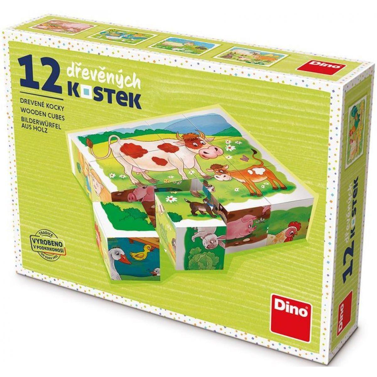 Dino Na Farme drevené kocky 12 ks