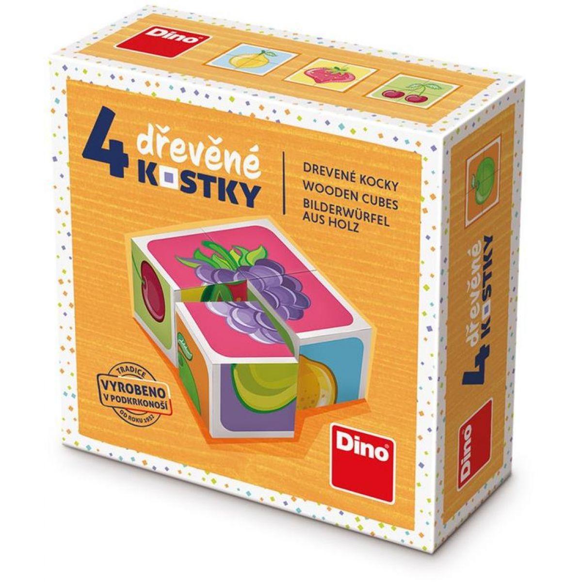 Dino Ovocie drevené kocky 4 ks