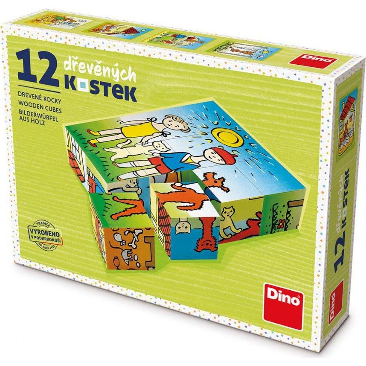 Dino Psík a mačička 12 dielikov drevené kocky