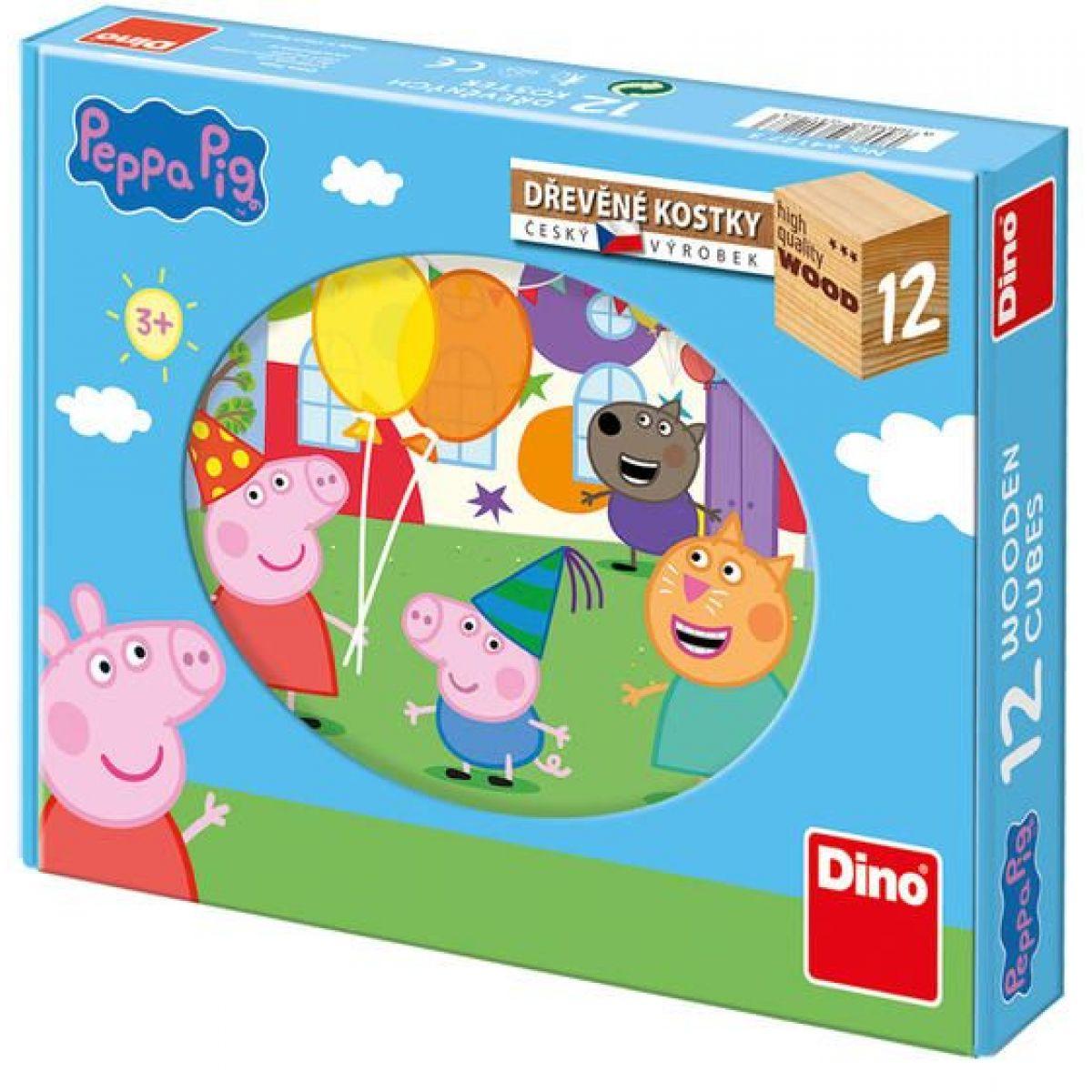 Dino dřevěné kostky Peppa Pig 12 kostek