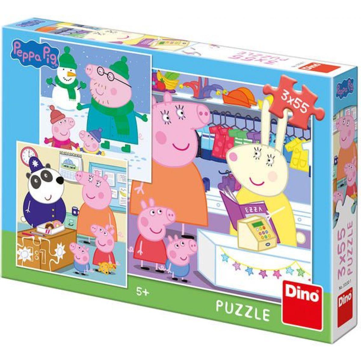 Dino Peppa Pig Veselé odpoludnie puzzle 3 x 55 dielikov