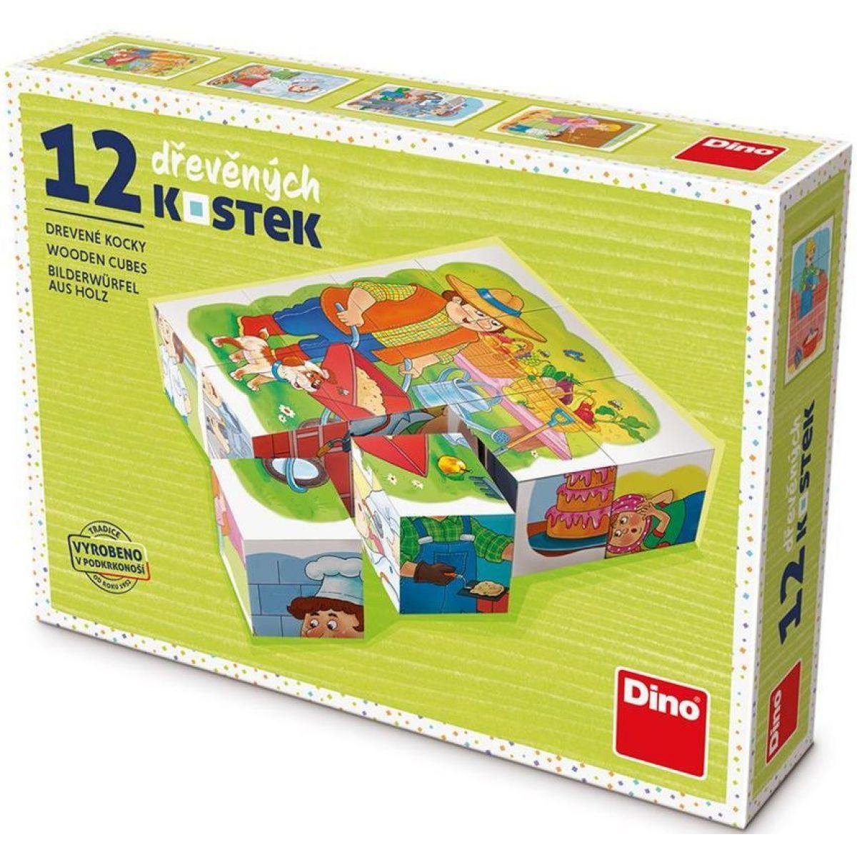 Dino Povolanie drevené kocky 12 ks