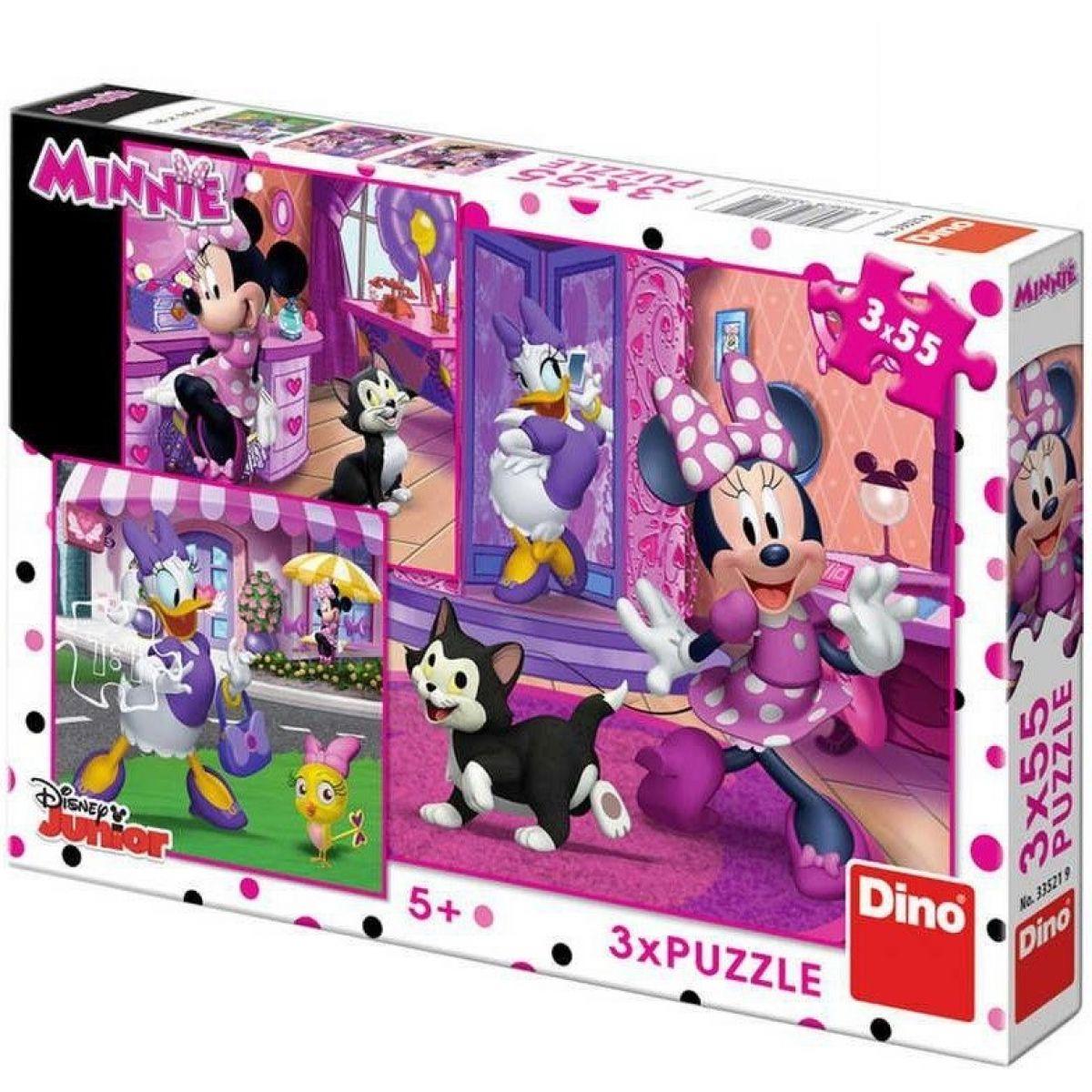 Dino Puzzle Deň s Minnie 3 x 55 dielikov