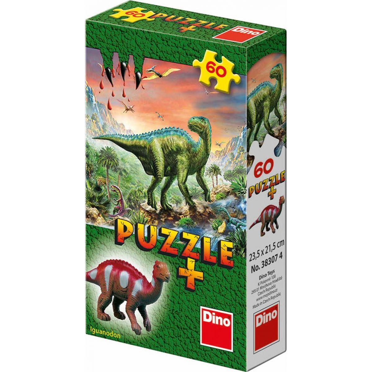 Dino Puzzle Dinosaury s figúrkou 60 dielikov- Iguanodon
