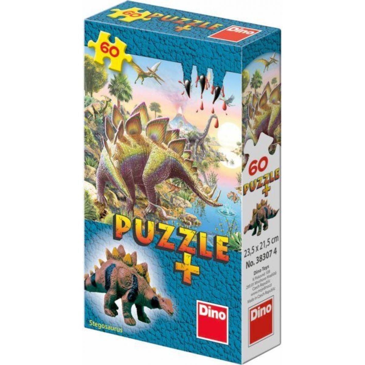 Dino Puzzle Dinosaury s figúrkou 60 dielikov - Stegosaurus