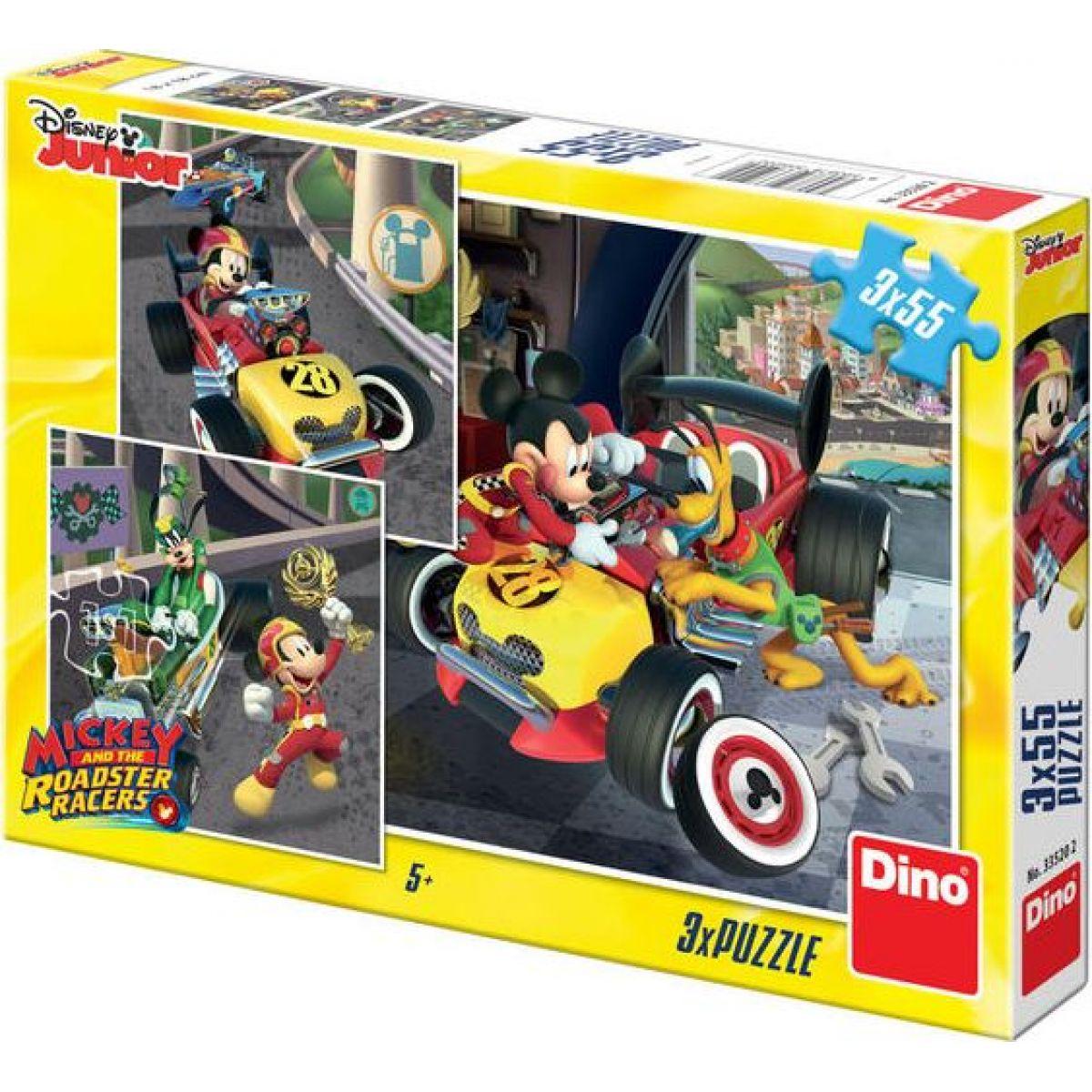 Dino Mickey a Minnie závodníci 3 x 55 dílků