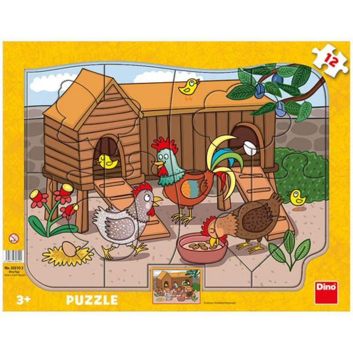 Dino Puzzle doskové Sliepočka 12 dielikov