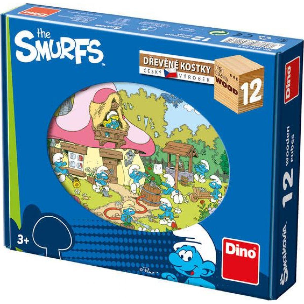 Dino detské drevené kocky Šmoulí rok