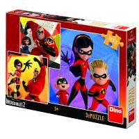 Dino Rodinka Úžasných 2 Hrdý puzzle 3 x 55 dielikov