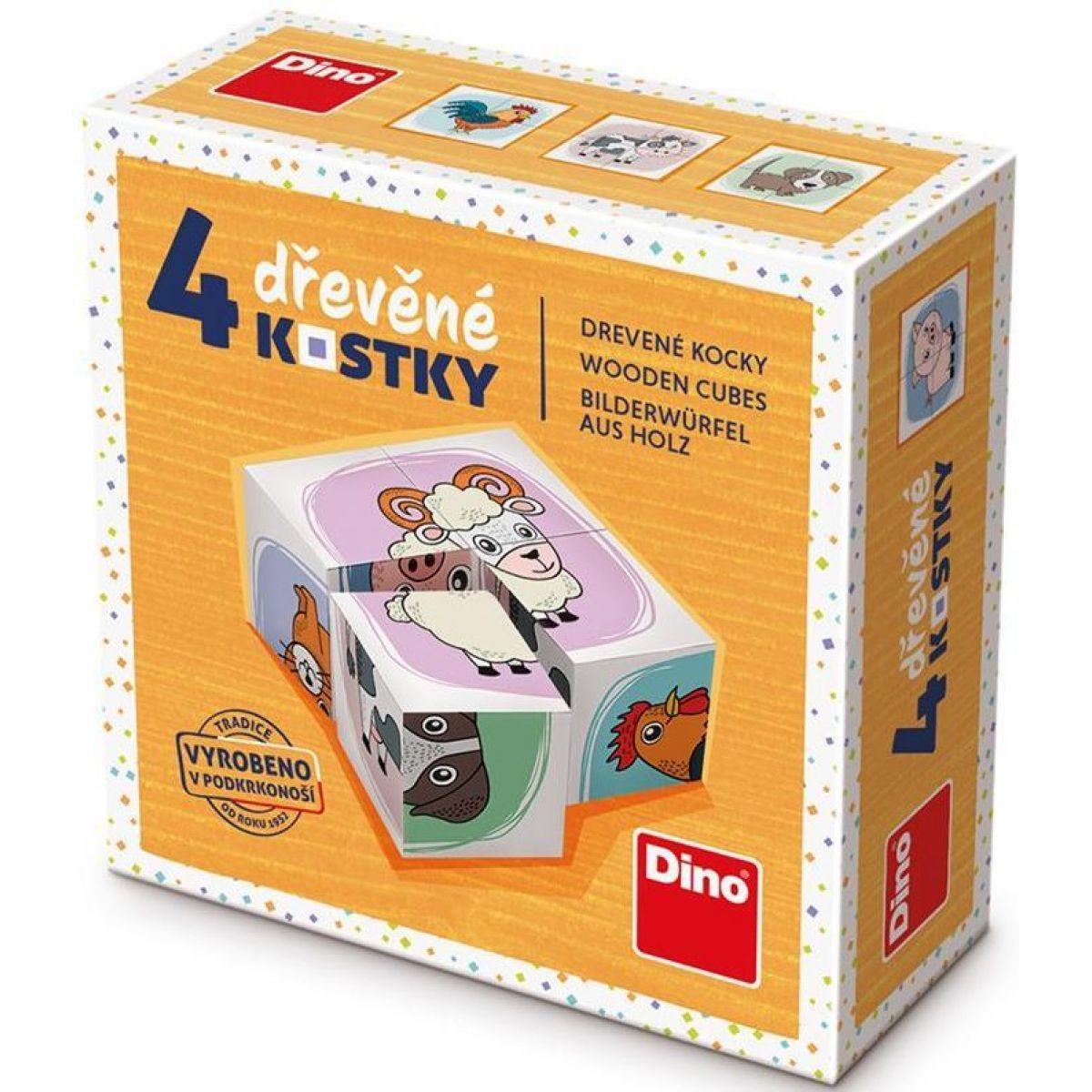 Dino Zvieratká drevené kocky 4 ks