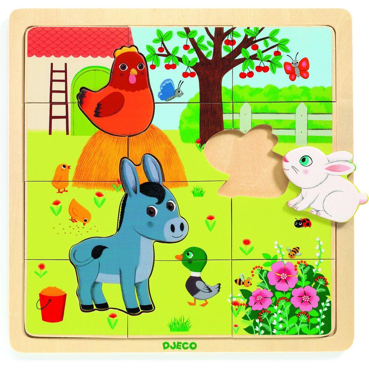 Djeco Drevené puzzle Na Farme