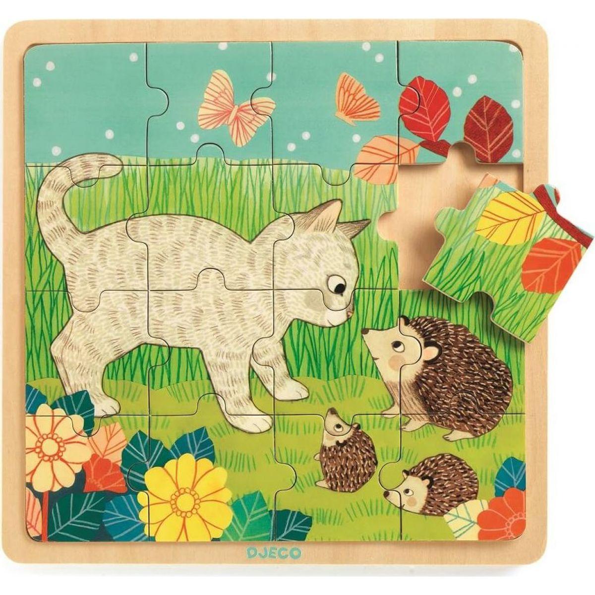 Djeco Drevené puzzle Na záhrade