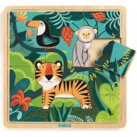 Djeco Drevené puzzle Tiger a priatelia