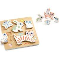 Djeco Pastelová mláďatká vkladacie drevené puzzle
