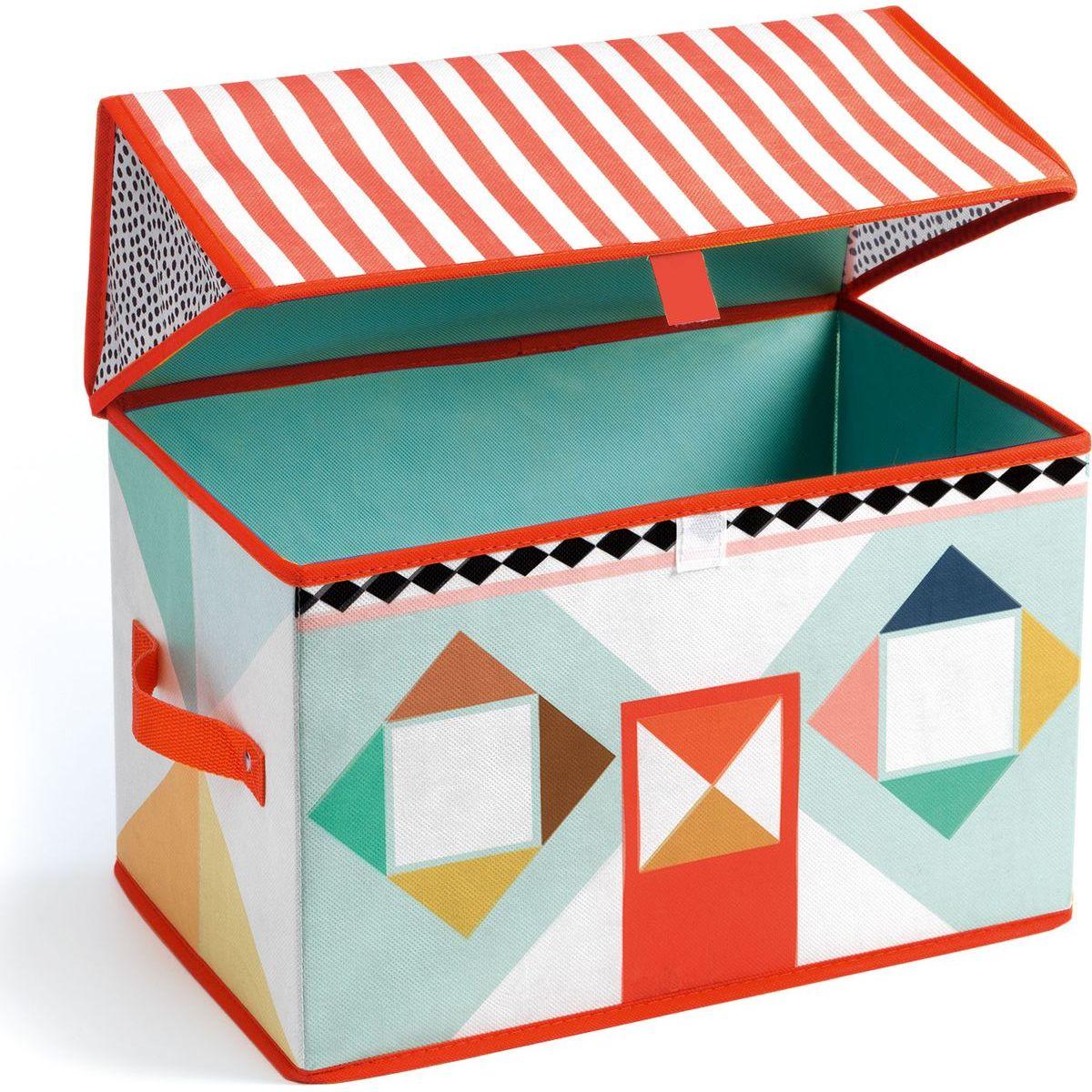 Djeco Pestrofarebná krabička na hračky Domček