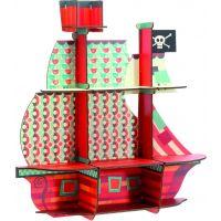 Djeco polička Drevená pirátska loď na stenu