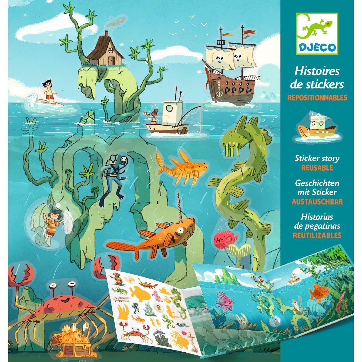 Djeco Samolepkové príbehy Dobrodružstvo pod morom
