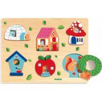 Djeco Vkladacie puzzle s okienkami domov