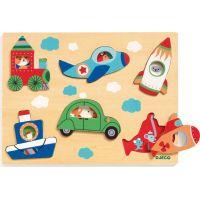 Djeco Vkladacie puzzle s okienkami dopravné prostriedky