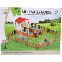 Made Dostihové centrum s koňom a ohradou hnedý kôň