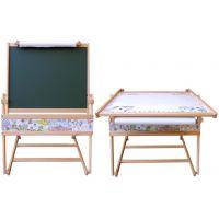 Drevená magnetická tabuľa a stolík 2v1