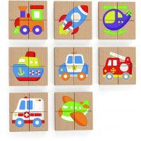 Viga Drevené magnetické puzzle Dopravné prostriedky