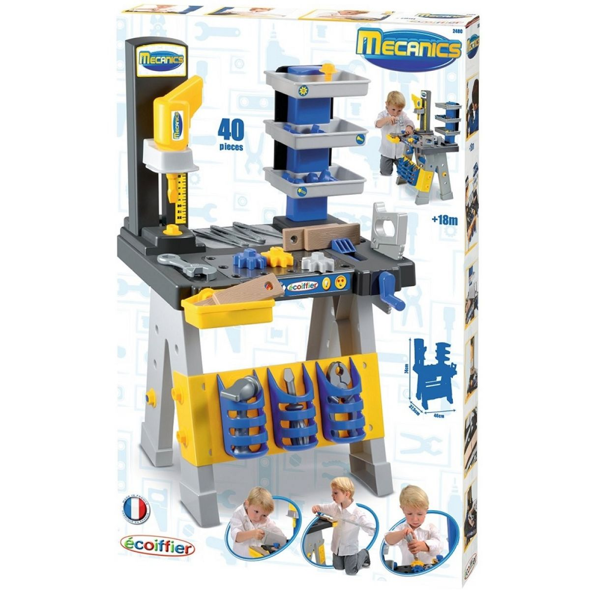 ÉCOIFFIER pracovná dielňa Mecanics + 31 doplnkov