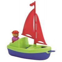 Ecoiffier Plachetnica 22,5 cm s námorníkom zelená