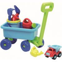 Ecoiffier vozík na ťahanie piesku a krhličkou modré