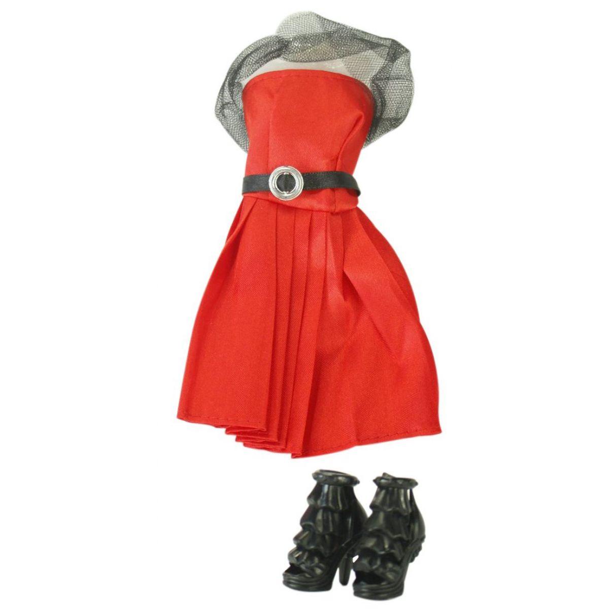 EP Line Šatičky pro panenky s doplňky červené šaty s černým páskem