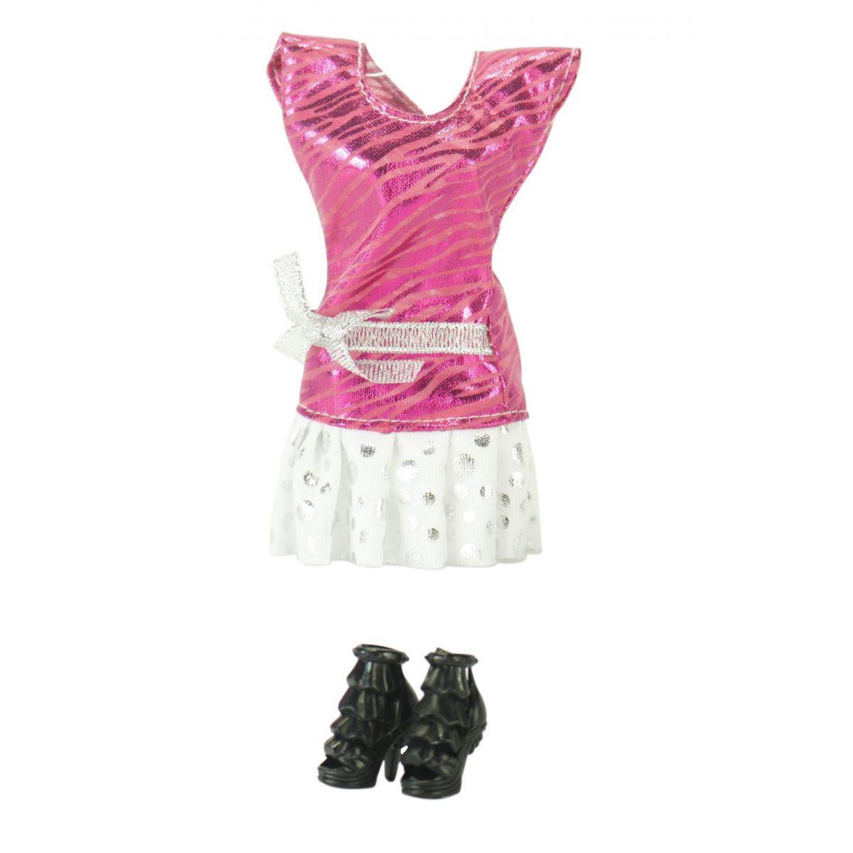 EP Line Šatičky pro panenky s doplňky Růžové šaty s bílou sukní