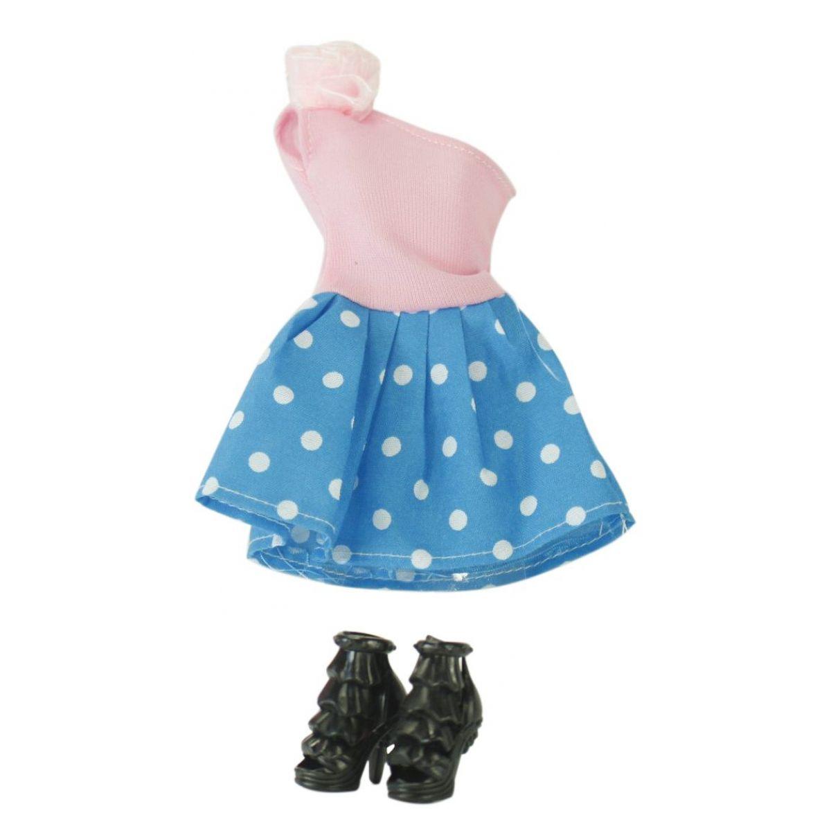 EP Line Šatičky pro panenky s doplňky růžové šaty s modrou puntíkatou sukní