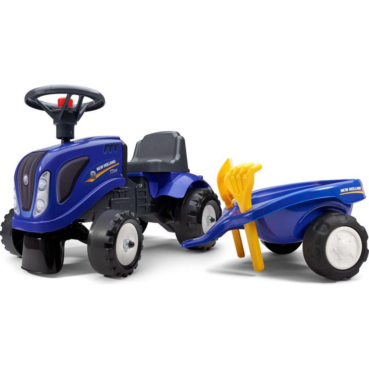 Falk Odstrkovadlo traktor New Holland modré s volantom a prívesom