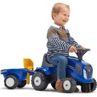 Falk Odstrkovadlo traktor New Holland modré s volantom a prívesom 2