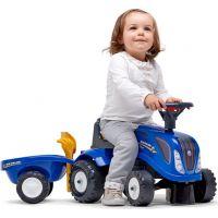 Falk Odstrkovadlo traktor New Holland modré s volantom a prívesom 3