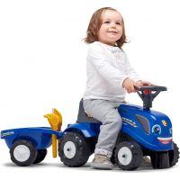 Falk Odstrkovadlo traktor New Holland modré s volantom a prívesom 5