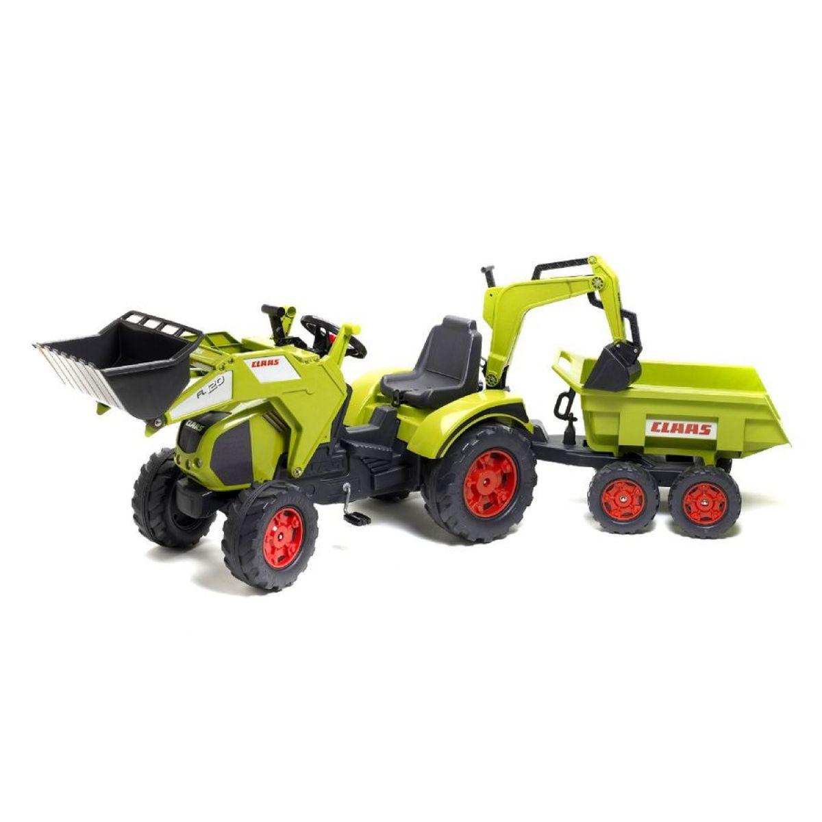 Falk Šlapací traktor Claas Axos s prednou a zadnou lyžicou