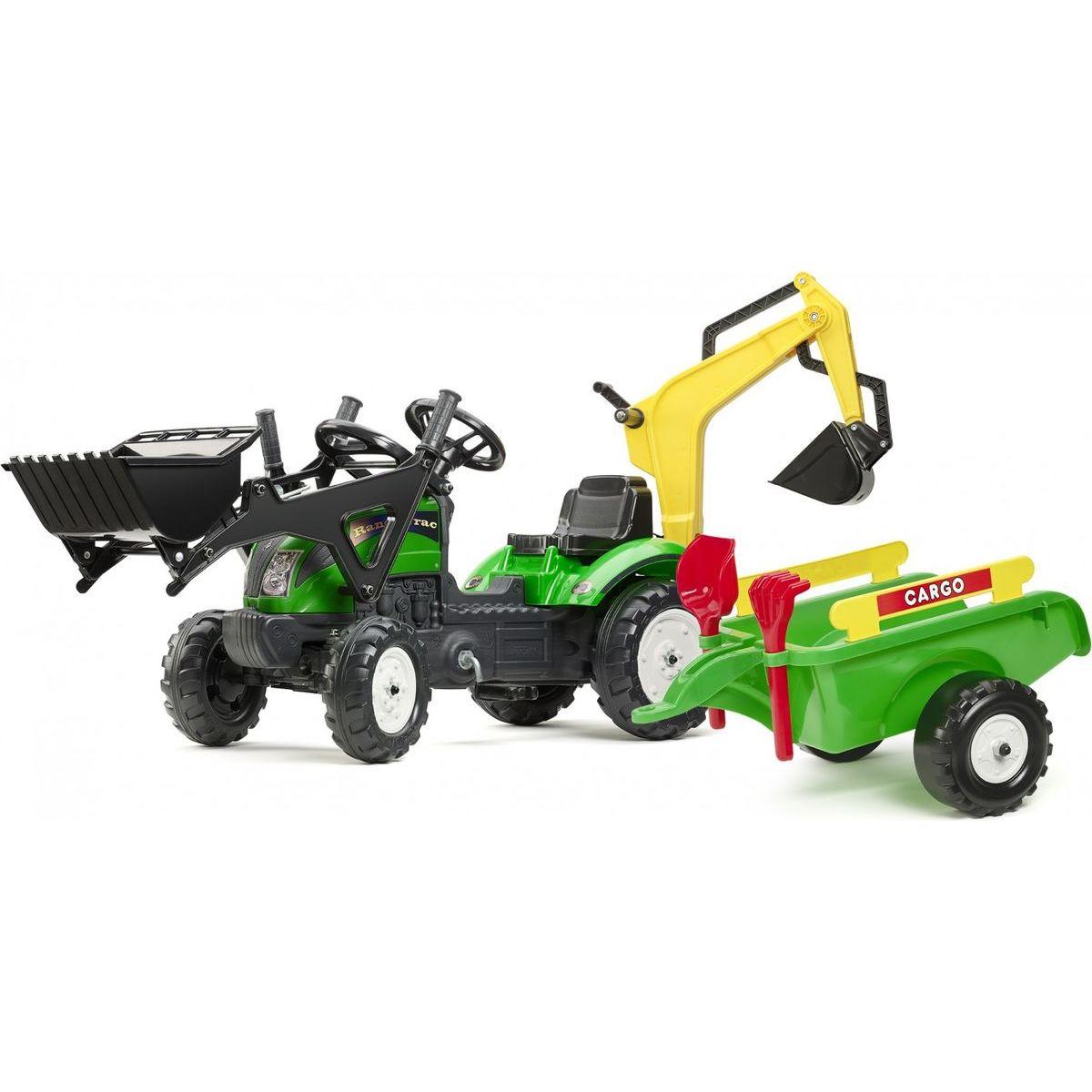 Falk Šlapací traktor Ranch Track žltý s prednou a zadnou lyžicou a vozíkom