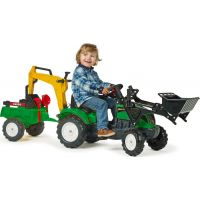 Falk Šlapací traktor Ranch Track žltý s prednou a zadnou lyžicou a vozíkom 3