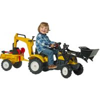 Falk Šlapací traktor Ranch Track žltý s prednou a zadnou lyžicou a vozíkom 2