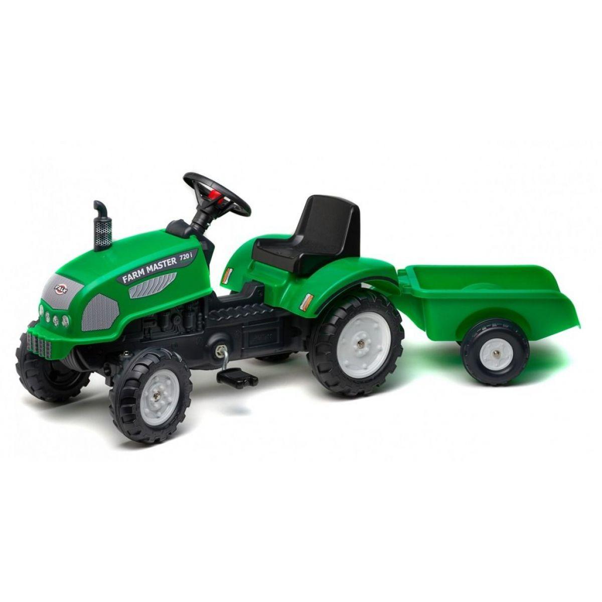 Falk Traktor Farm Master s vozíkom zelený