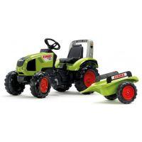 Falk Traktor šlapací Claas Axos 330 s vozíkom zelený