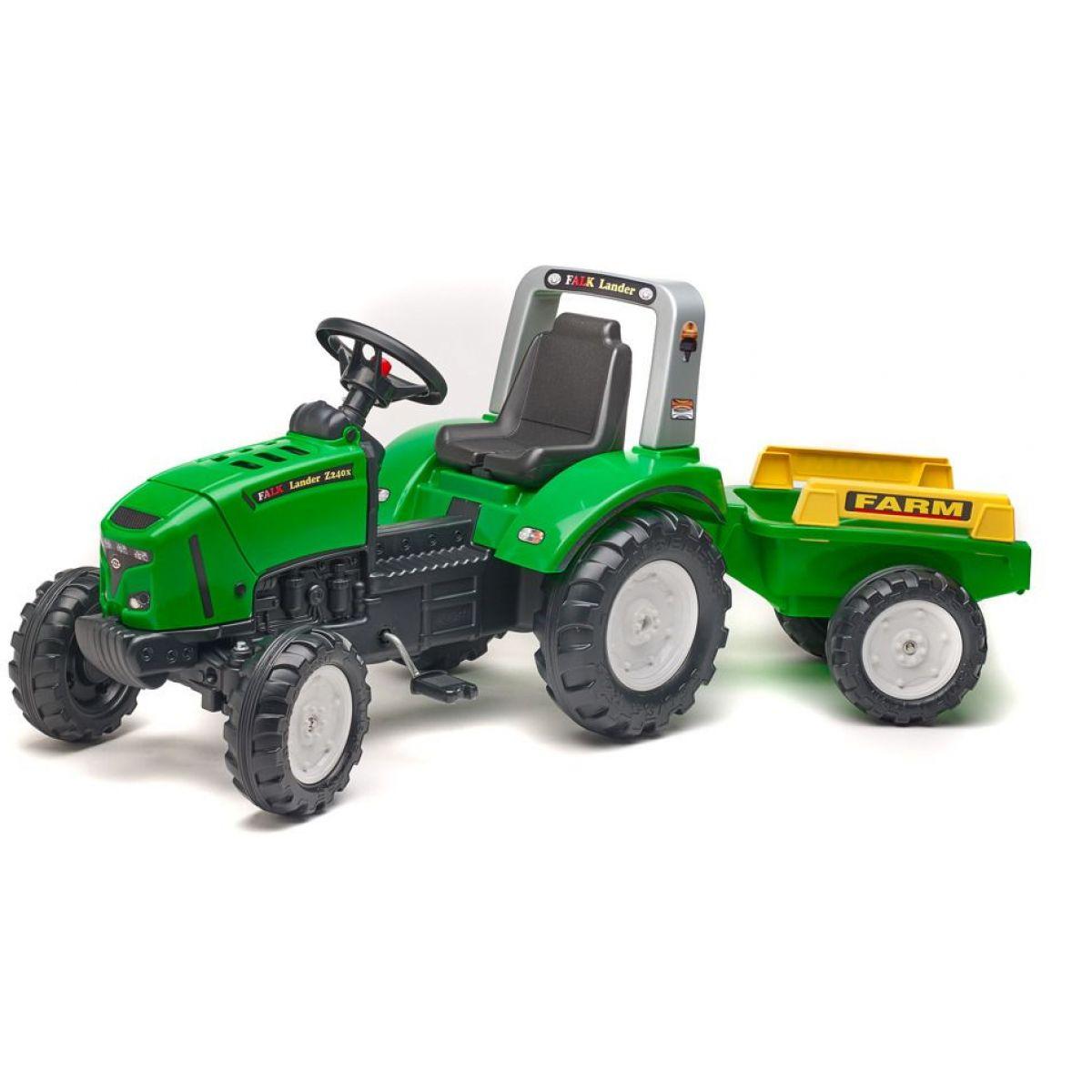 Falk Traktor šlapací Lander 240X s vozíkom zelený